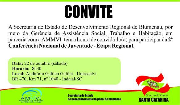 Convite da SDR Blumenau para 2ª Conferência Regional de Juventude