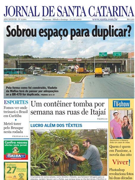 Jornal de Santa Catarina do dia 15 e 16 de maio de 2010 na na edição 11904