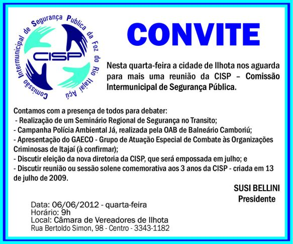 Convite da Cisp 06/06/2012 em Ilhota