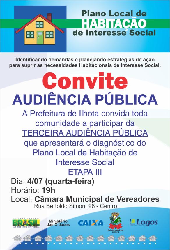 Convite para audiência pública PLHIS