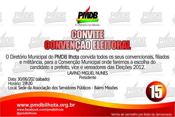 Convite da convenção Eleitoral do PMDB Ilhota