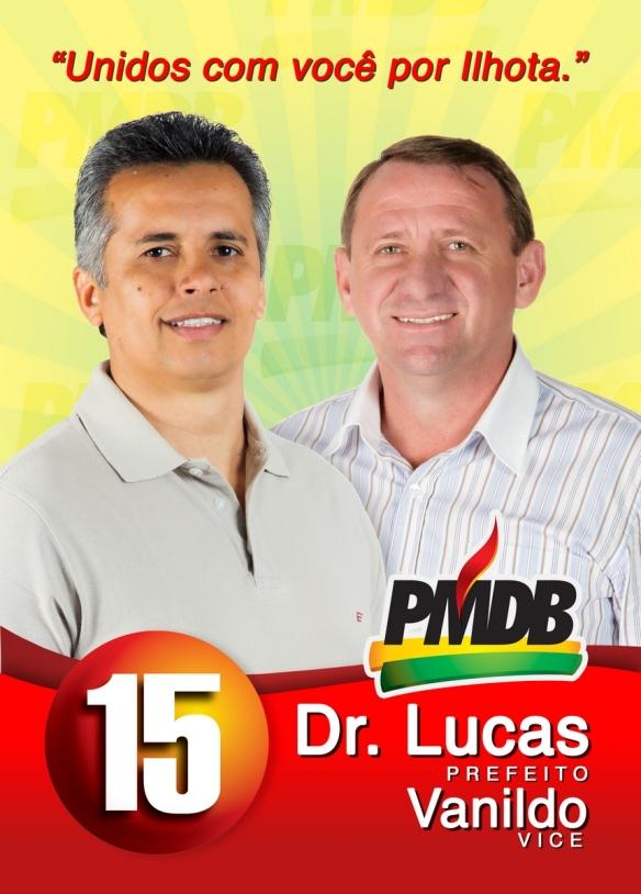 Flyer de divulgação dos candidatos majoritário do PMDB Lucas e Vanildo
