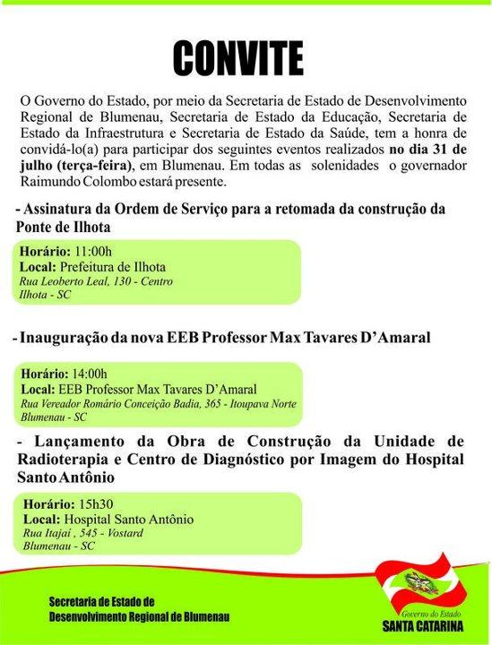 Convite da SDR de Blumenau para assinatura de ordem de serviço da Ponte de Ilhota