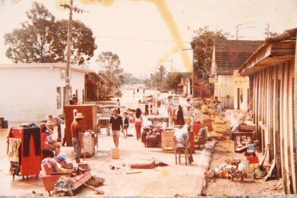 Centro de Ilhota na enchente de 1983