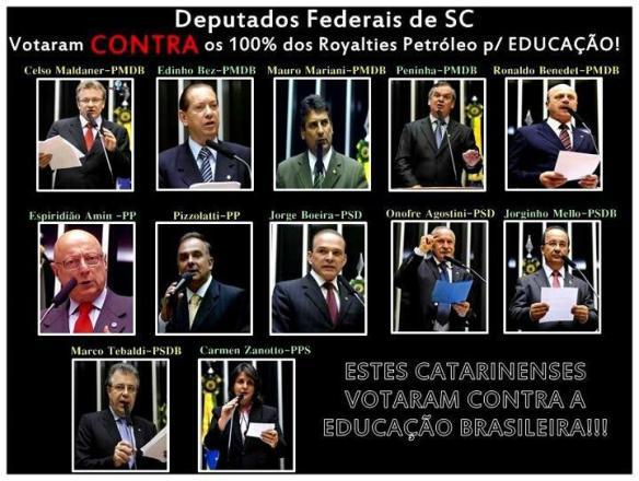 Deputados que votaram contra a educação