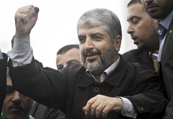 Líder do Hamas durante o seu discurso deste sábado, em comemoração aos 25 anos do movimento islâmico