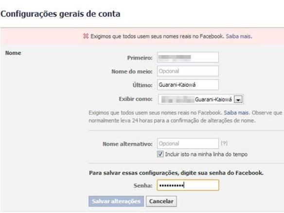 Facebook impede uso de Guarani-Kaiowá como sobrenome