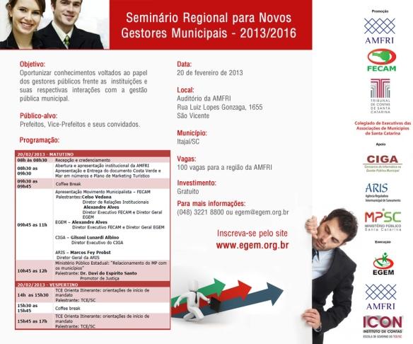 Seminário Regional para Novos Gestores Municipais 2013-2016