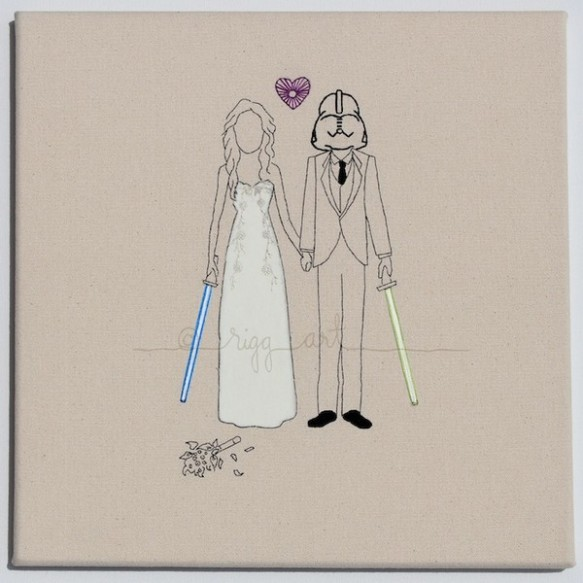 Retratos de casamento bordados