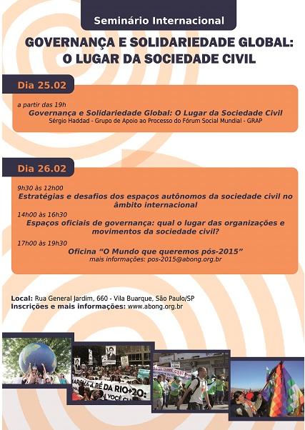 """Seminário Internacional """"Governança e Solidariedade global: o lugar da sociedade civil"""""""