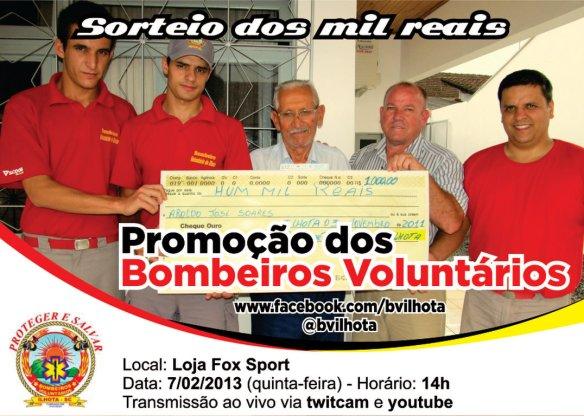 Sorteio dos mil reais do mês de janeiro dos Bombeiros Voluntários