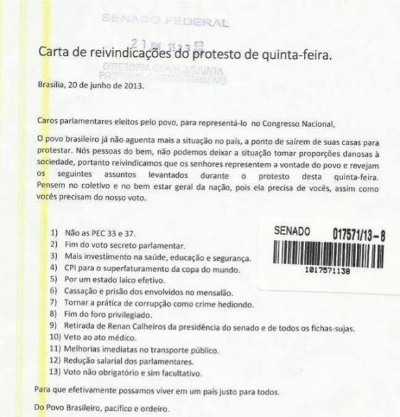 Carta de reivindicações dos protestos de quinta-feira