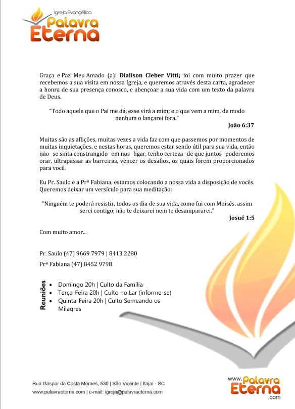 Carta de visitante da igreja Palavra Eterna enviado a Dialison Cleber Vitti dcvitti