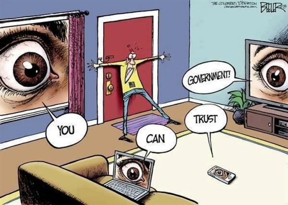 """Cuidado! O Obama está lendo o seu e-mail... A charge mostra uma pessoa encurralada por eletronicos e por um grande olho na janela de casa a juncao das palavras forma a frase: """"você pode confiar no governo"""""""