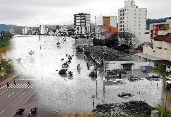 fotomontagens da enchente de 1983 em Blumenau