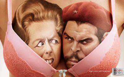 Hope brinca com divisão política entre esquerda e direita em anúncios (Margaret Thatcher e Che Guevara)
