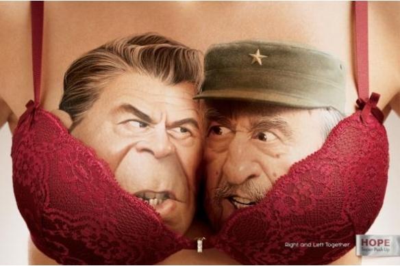 Hope brinca com divisão política entre esquerda e direita em anúncios (Ronald Reagan e Fidel Castro)