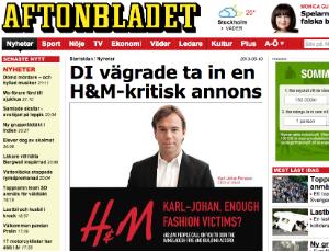 Jornal sueco destaca o nosso anúncio contra a H&M que foi proibido