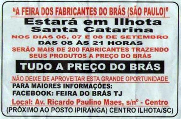 A feria dos fabricantes do Brás de São Paulo em Ilhota