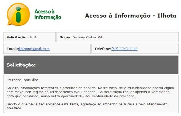dcvitti e o acesso a informação no site da prefeitura de ilhota