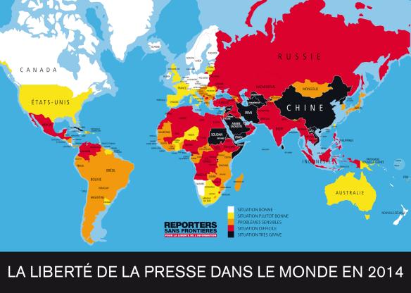 Ranking Mundial da liberdade de imprensa em 2014 do RSF