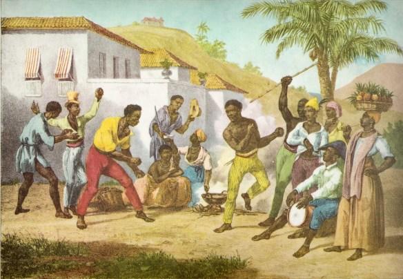 Pintura de Johann Moritz Rugendas retratanto a roda de capoeira, patrimônio imaterial do Brasil. Reprodução: domínio público
