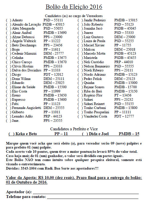 Bolão das Eleições de 2016, Dialison, Dialison Cleber, Dialison Cleber Vitti, DialisonCleberVitti, Dialison Vitti, Dialison Ilhota, Cleber Vitti, Vitti, dcvitti, @dcvitti, #dcvitti, #DialisonCleberVitti, #blogdodcvitti, blogdodcvitti, blog do dcvitti, Ilhota, Newsletter, Feed, 2016, ツ