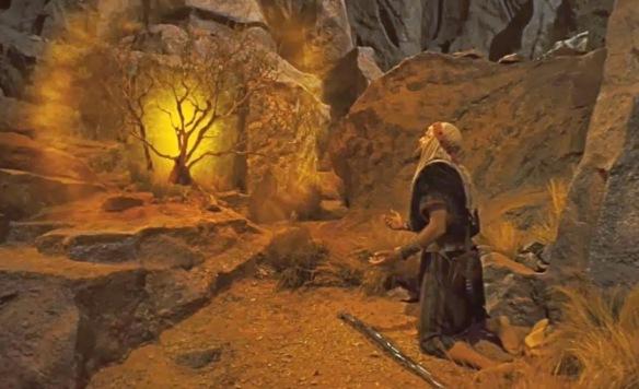 A sarça falando com Moisés