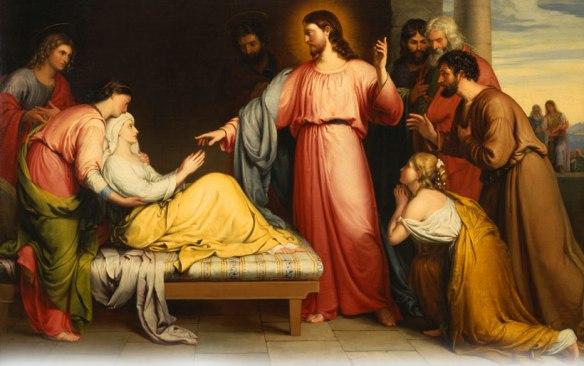 A sogra de Pedro - Imagem da cura da sogra de Pedro por Jesus em Cafarnaum, Galiléia