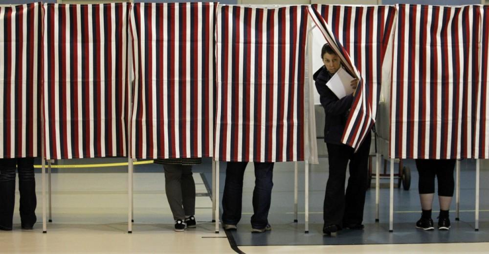 Cabine de votação das eleições americanas