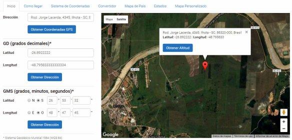 Localização geográfica do aeroporto de Ilhota