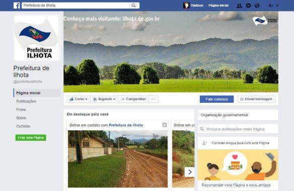 Página da prefeitura de Ilhota no Facebook
