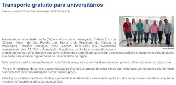 Transporte gratuito para universitários