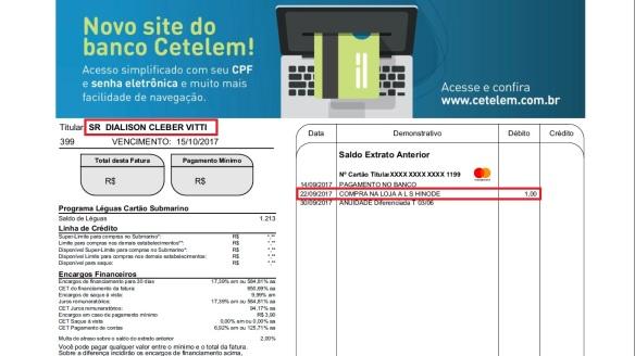 Fatura do cartão de crédito Submarino - COMPRA NA LOJA A L S HINODE