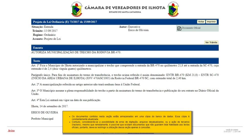 Projeto de Lei 732017 - Municipalização de trecho da Rodovia BR-470