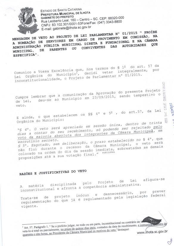 Mensagem de Veto do prefeito ao Projeto de Lei Parlamentar 01-2015 (Lei do nepotismo) - Pag.1