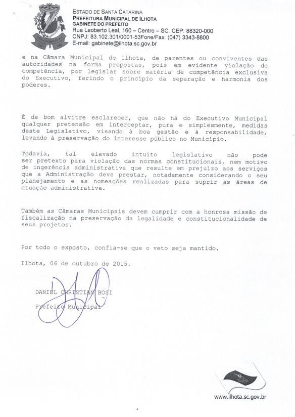 Mensagem de Veto do prefeito ao Projeto de Lei Parlamentar 01-2015 (Lei do nepotismo) - Pag.11