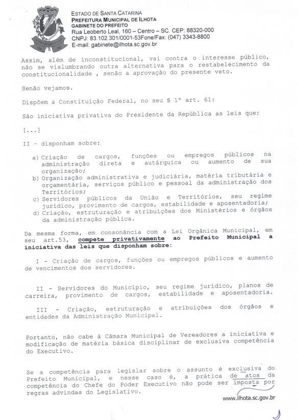 Mensagem de Veto do prefeito ao Projeto de Lei Parlamentar 01-2015 (Lei do nepotismo) - Pag.2