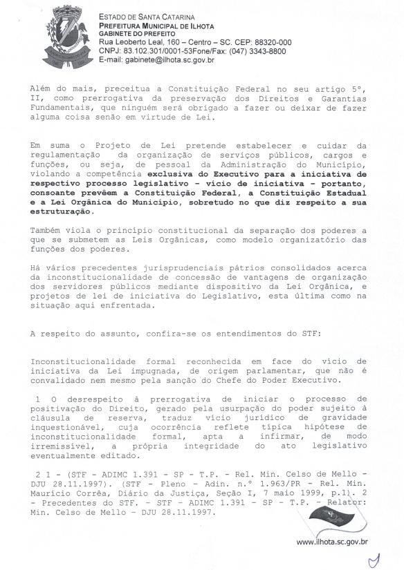 Mensagem de Veto do prefeito ao Projeto de Lei Parlamentar 01-2015 (Lei do nepotismo) - Pag.3