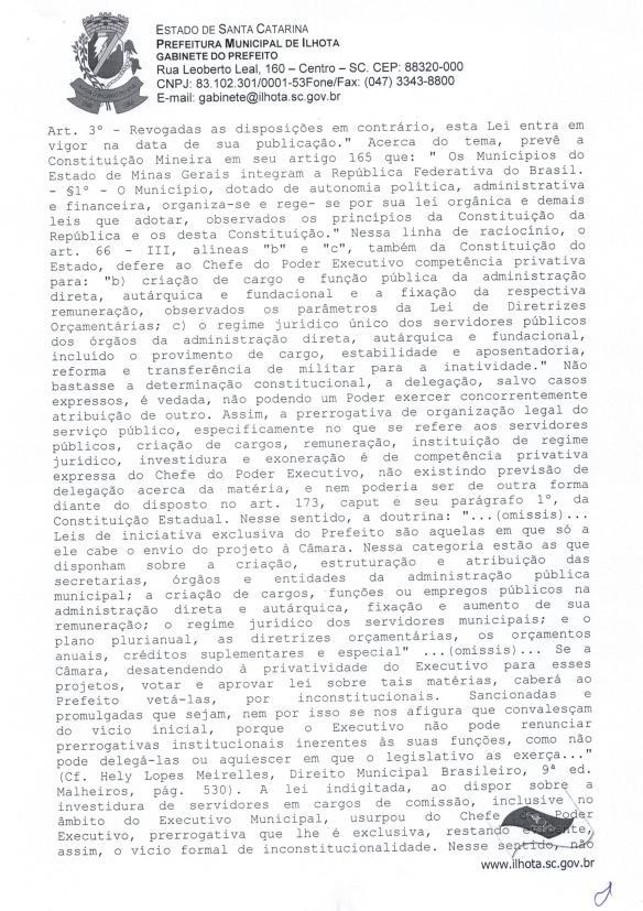 Mensagem de Veto do prefeito ao Projeto de Lei Parlamentar 01-2015 (Lei do nepotismo) - Pag.7