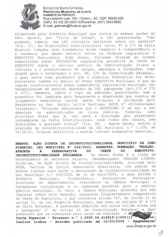 Mensagem de Veto do prefeito ao Projeto de Lei Parlamentar 01-2015 (Lei do nepotismo) - Pag.9
