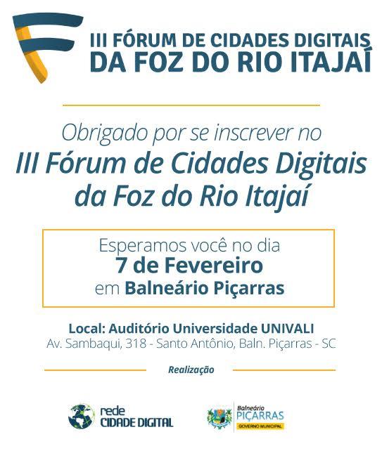 Confirmação de Inscrição - Fórum de Cidades Digitais em Piçarras