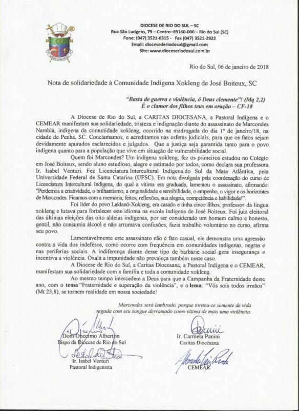 Diocese de Rio do Sul e CEMEAR emitem nota de solidariedade ao povo Xokleng, pelo assassinato do professor Namblá