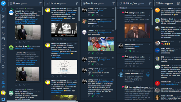 Painel do Tweetdeck do dcvitti