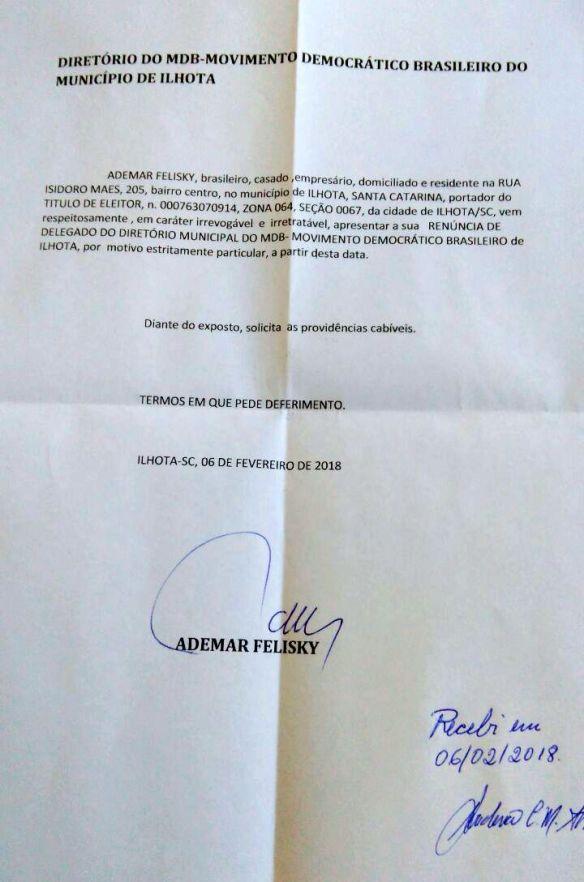 Carta de renúncia de Ademar Felisky da função de delegado do Diretório do MDB de Ilhota