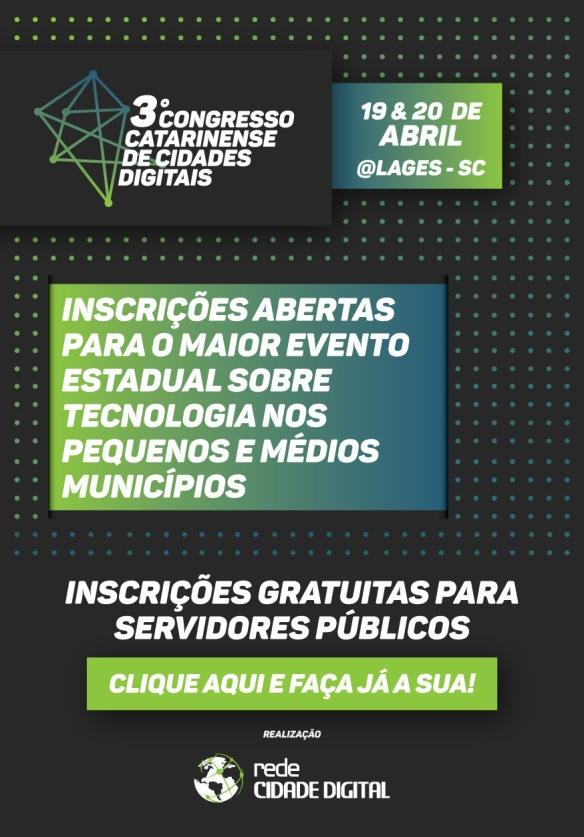 Inscrições para o 3º Congresso Catarinense de Cidades Digitais