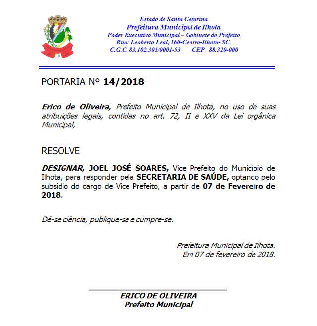 Portaria 142018 - Nomeação de Joel Soares para Secretário de Saúde