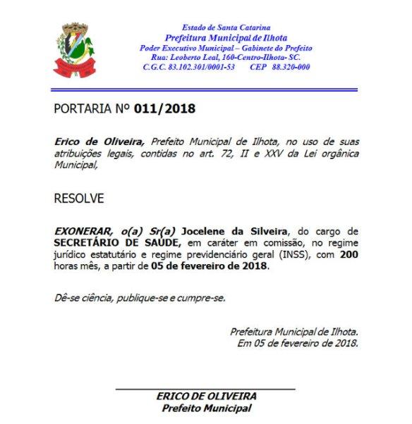 Portaria 11/2018 da Prefeitura de Ilhota sobre a exoneração de Jocelene da Silveira