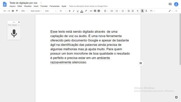 Digitação por voz através do Documento Google