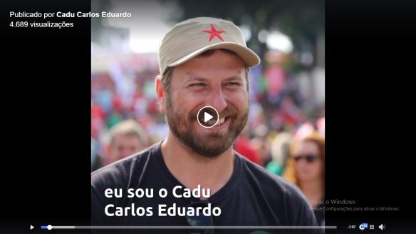 Vídeo de apoio do Cadu Carlos Eduardo de Souza aos membros da Executiva Estadual do PT SC